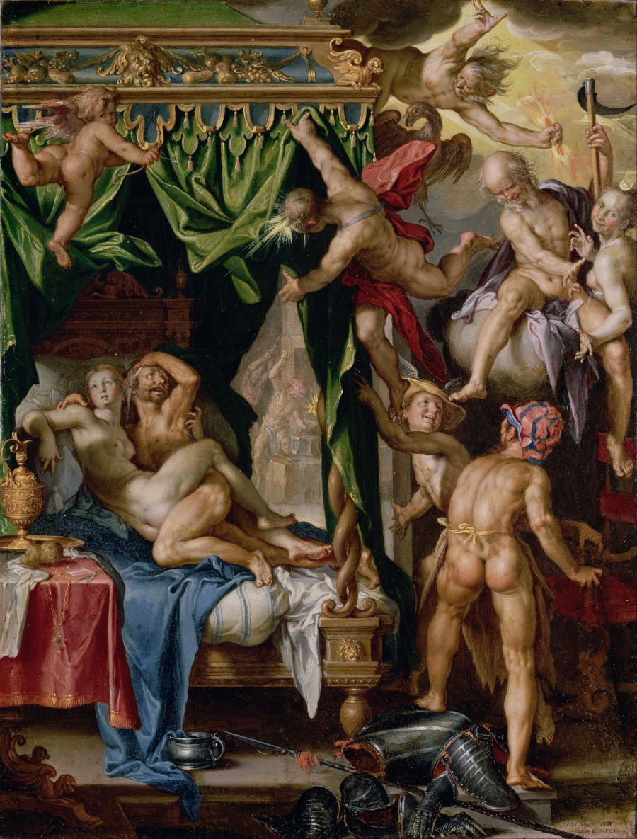 Mars en Venus betrapt door Vulcanus, Joachim Wtewael, 1606-1610. Collectie: The J. Paul Getty Museum, Los Angeles
