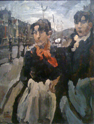 Twee meiden op lijnbaansgracht in Amsterdam van Isaac Israels