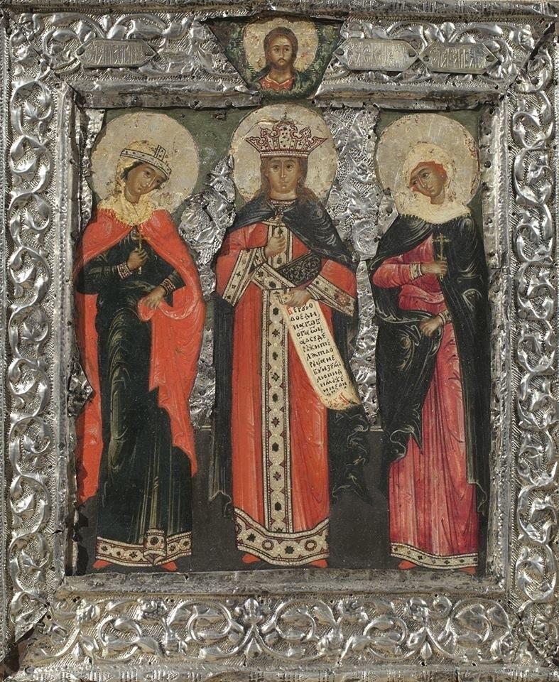 Heilige grootmartelaressen Paraskeva Pjatnitsa, Catharina en Barbara