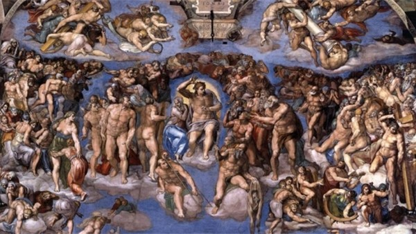 Laatste oordeel (detail),, Michelangelo, 1534-1541, Sixtijnse Kapel Rome